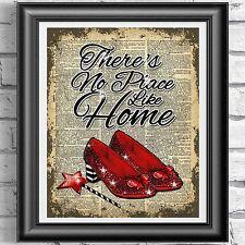Mago De Oz Rojo Zapatos Casa cita Vintage Arte de la pared de Imagen de Impresión de página de diccionario
