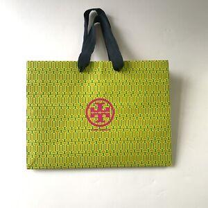 "Tory Burch Pink Logo L12"" xH 9"" X W5"" Green Paper Bag Gift Shopping Tote Bag"
