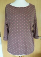White Stuff Ladies Top Blouse 10 Casual Spotty Polka Dot Winter Everyday (bf)