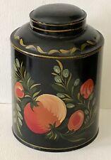 Antique Hand Painted Peach Plum Folk Art Tole Toleware Primitive Black Canister