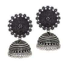 Indian Oxidised Jewelry Designer Women Jhumkas Jhumki Earrings Set Traditional
