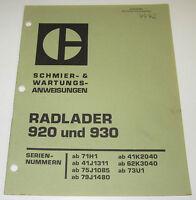 Betriebsanleitung und Wartungsanleitung Caterpillar Radlader 920 / 930 12/1976!