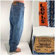 Levis 505 Orange Tab Mens 42 X 32 Jeans Made In USA Light Wash Vintage