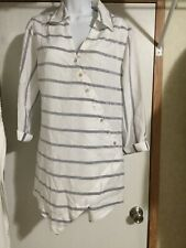 Soft Surroundings L Tunic Shirt Crossover Tencel White Gray Striped Roll Sleeve