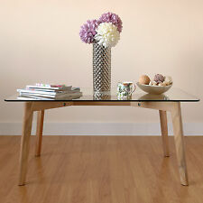 Large Modern Rectangular Clear Glass Lounge/Coffee Tea Table with Solid Oak Legs