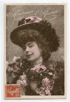 c 1909 Pretty LADY'S FASHION HAT Woman vintage French photo postcard
