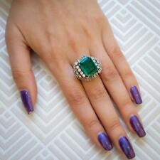 Cicra 1950s Vintage Look Emerald Shape 6.69Ct Emerald & 3.48Ct Cz Beautiful Ring