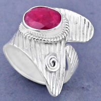 4.03cts Natural Red Ruby 925 Sterling Silver Adjustable Ring Size 8.5 R63459