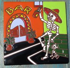 """Talavera Mexican tile 6"""" Day of  the Dead high relief Bar Tequila Man Kitty Cat"""