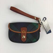 New Dooney Bourke navy flap wristlet blue green tartan plaid new with tag