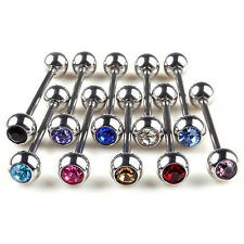 5X Lots Mixed Logo Ball Tongue Bars Rings Barbell Piercing Stainless Stee HU