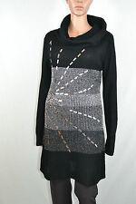 Womens Funnel Neck Thin Knit Winter Black Silver Embellish Wool Dress Plus AS3