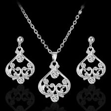 Elegance Women Prom Wedding Party Bridal Jewelry Crystal Necklace Earrings Set