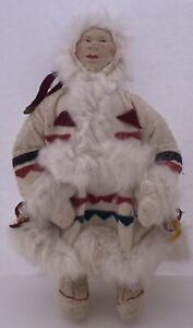 "Antique 13"" Russian Soviet Union (USSR) Stockinette Cloth Doll Eskimo Lady"