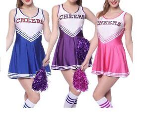 High School Cheer Girl Uniform Costume Cheerleader Fancy Dress with Pompoms