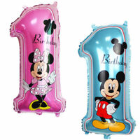 Mickey and Minnie Mouse Blue Pink Boy's 1st Birthday Party Number 1 Foil Balloon