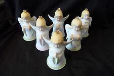 Sechs alte Porzellan Weihnachtsengel Weihnachtsglockenanhänger Kaiser-Porzellan