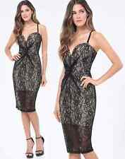 NWT bebe black beige overlay lace bustier top midi dress sexy  XS 2 padding