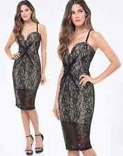 NWT bebe black beige overlay lace bustier top midi dress sexy M medium 6 padding