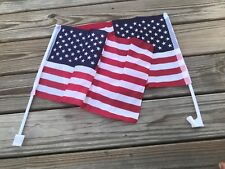 4th July Car Flag Patriotic Usa American Flag Truck Window Clip 18x12in Lot of 2