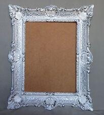 Bilderrahmen Jugendstil Weiß-Silber Antik Rechteckig 56x46 BAROCK 30x40 mit Glas