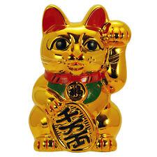 """Japanese  Maneki Neko Cat 10"""" Tall Golden Lucky Forturn Ceramic/Coin Bank"""