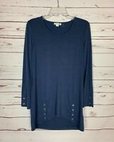 Boutique Simply Noelle Women's XS Extra Small Blue Long Sleeve Tunic Top Shirt