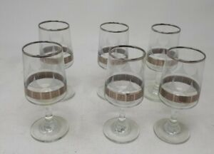 6 Vintage Etched & Gold Sherry Glasses 11 cms Tall