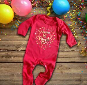 Personalisable Custom 1st Diwali 2021 red long sleeve rompersuit baby grow
