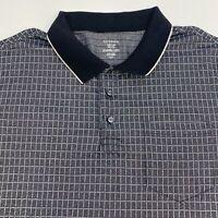 George Polo Shirt Men's Size 2XL XXL Short Sleeve Black White Check Cotton Blend
