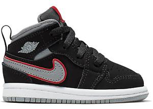 Nike Jordan 1 Mid TD Baby Shoes 640735-060 Black Grey Red White NEW Retro