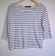 Sportsgirl Women's White & Blue Stripe 3/4 Sleeve Top - Size S