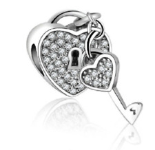 Genuine Sterling Silver 925 Crystal Heart Lock Chain Charm European Bracelets UK