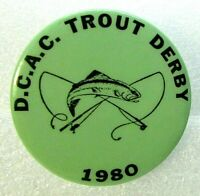 1980 Pin Back Button DCAC Trout Derby Fish Crossed Rods Logo Delaware County Art
