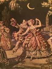 "Amazing! Vintage Italian Tapestry Medieval Folk of Leisure in Venice 44"" x 19.5"""