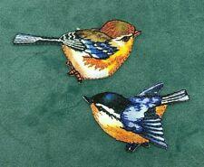 Bird patch small garden blue tie iron on sew on nature bird love gift applique