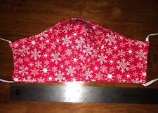 Snowflakes White Red Cotton Christmas Winter Face Mask, 2 fabric layers, adult