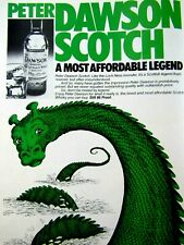 Loch Ness Monster 1979 Peter Dawson Scotch Green Original Print Ad 8.5 x 11""