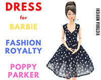 Navy Chiffon Dress for Fashion Royalty, Barbie, Poppy Parker 12 inch dolls