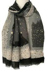 Grey Star Scarf Silver Stars Wrap Ladies Large Black Sky Shawl Cotton Blend