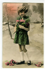 1920s French Deco Child Children DARLING LITTLE GIRL photo postcard