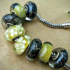 8 Amber Yellow Flower Black Gold Glitter Single Core European Murano Glass Beads