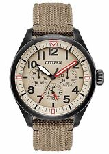 Mens Citizen Eco-Drive Tan Military Canvas Band Dial Day Date Watch BU2055-08X