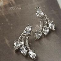 18k white gold gf SIMULATED DIAMOND ear jacket 925 silver stud fashion earrings