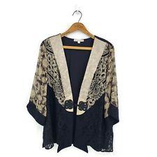 Spencer Alexis Kimono Jacket Womens 1X Plus Beige Gold Black Silk Rayon Floral
