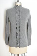 McDuff cashmere sweater gray cardigan jumper tuxedo ruffle top S M