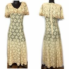 New listing Vtg Anna Sheer Beige Floral Lace Long A-Line Dress Romantic Capelet Size Medium