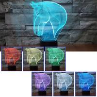 3D Illusion Décoratif Tactile Lampe Lumière LED Décoration / Tête de Cheval
