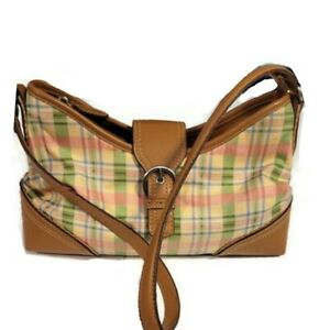 Relic by Fossil Pink & Green Plaid Hobo Shoulder Bag Brown Faux Leather Trim