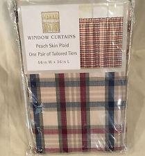 "CHF Industries Cafe Window Tier Pair 56""/36"" Red/Blue Peach Skin Plaid"
